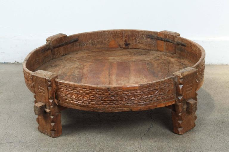 Hand-Carved Moroccan Round Tribal Low Table For Sale