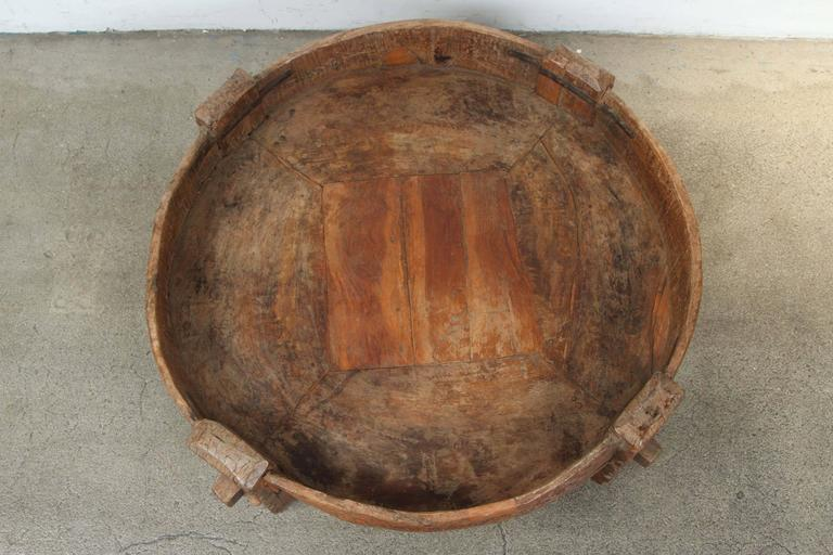 Wood Moroccan Round Tribal Low Table For Sale