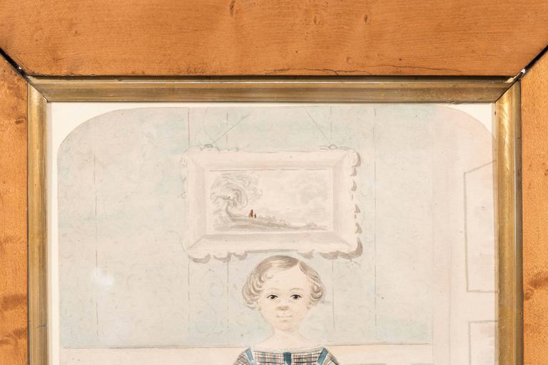 Victorian Antique Watercolor Portrait of a Young Girl For Sale