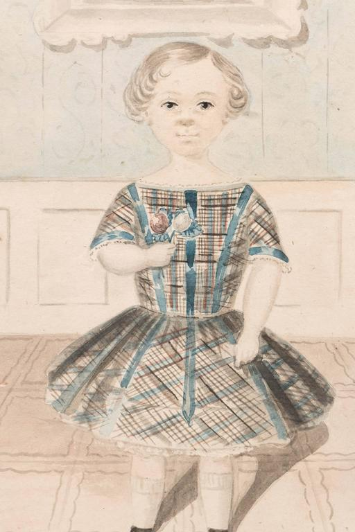 Antique Watercolor Portrait of a Young Girl In Excellent Condition For Sale In New York, NY