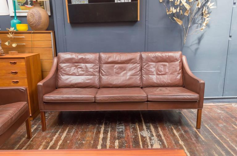 Børge Mogensen Design Cognac Leather Sofa For Fredericka, Denmark.  Purchased From The Original Owners
