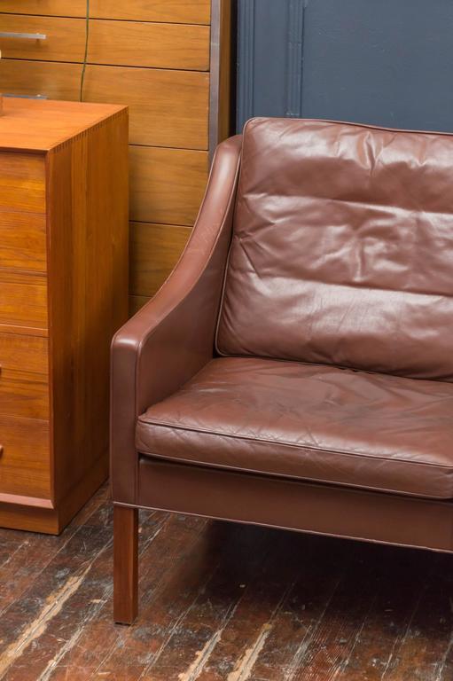 Danish Børge Mogensen Cognac Leather Sofa, Model 2209 For Sale
