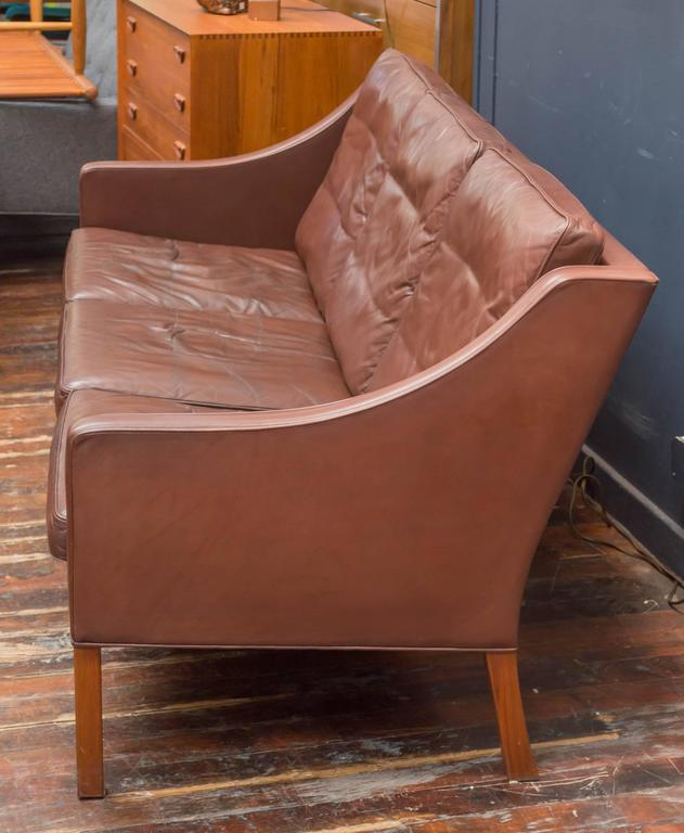 Børge Mogensen Cognac Leather Sofa, Model 2209 In Good Condition For Sale In San Francisco, CA