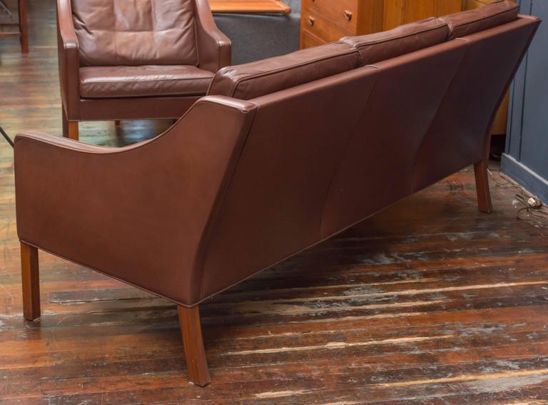 Mid-20th Century Børge Mogensen Cognac Leather Sofa, Model 2209 For Sale