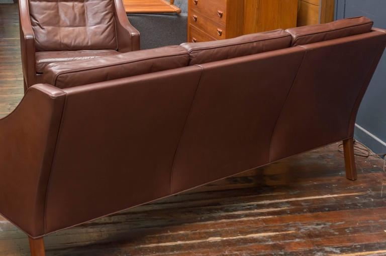 Børge Mogensen Cognac Leather Sofa, Model 2209 For Sale 1