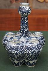 Chinese Blue and White Tulipiere with Floral Motif