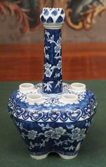 Chinese 19th c. Blue and White Tulipiere with Cherry Blossom Motif