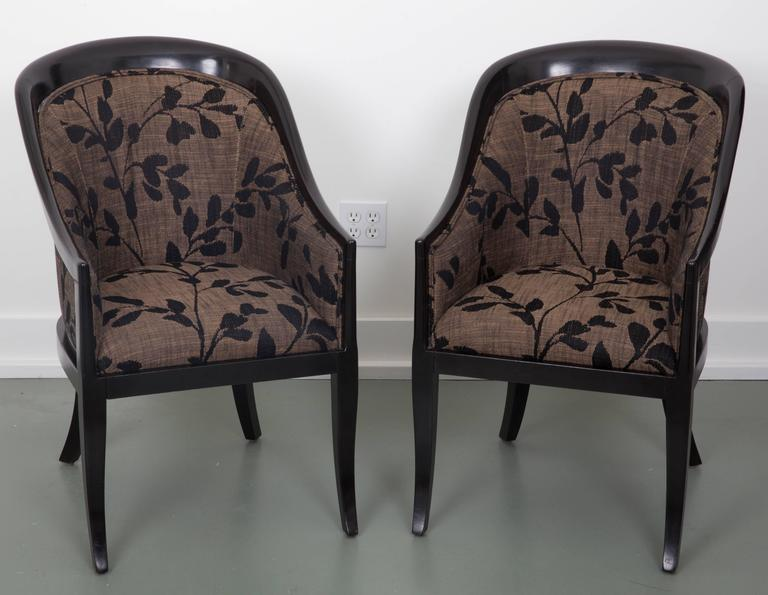 Beautiful upholstered with nice fluid lines. Ebonized wood finish, Brunschwig and  fils fabric.