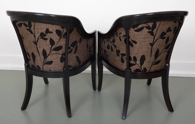 American Pair of Decorative Tub Chairs Great Curved Back Supports For Sale