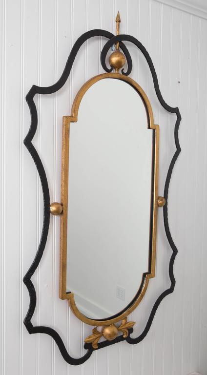 Wrought Iron Italian Marble-Top Console Table and Mirror by Palladio For Sale