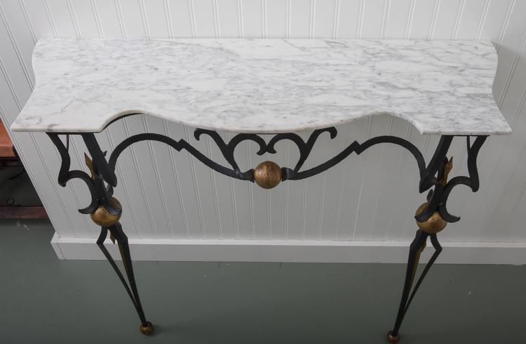 Italian Marble-Top Console Table and Mirror by Palladio For Sale 1