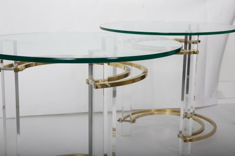 Mid-Century Modern Pair of Charles Hollis Jones Brass & Lucite End Tables  For Sale