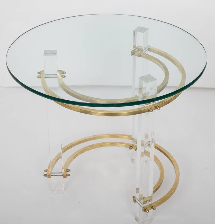 Pair of Charles Hollis Jones Brass & Lucite End Tables  In Good Condition For Sale In New Hyde Park, NY