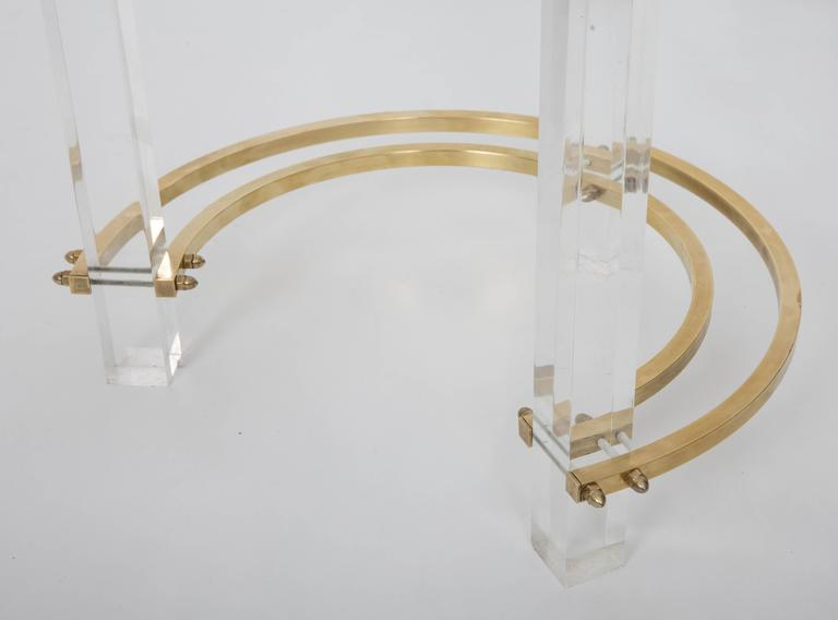 Pair of Charles Hollis Jones Brass & Lucite End Tables  For Sale 1