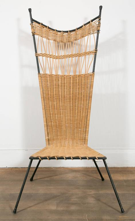 French Set of Four Metal and Wicker Slipper Chairs by Raoul Guys, France, 1950