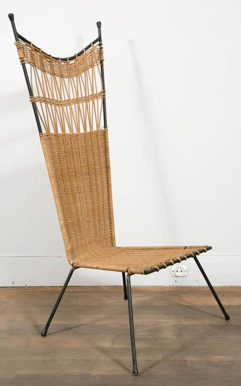 Set of Four Metal and Wicker Slipper Chairs by Raoul Guys, France, 1950 In Excellent Condition In Paris, Ile-de-France