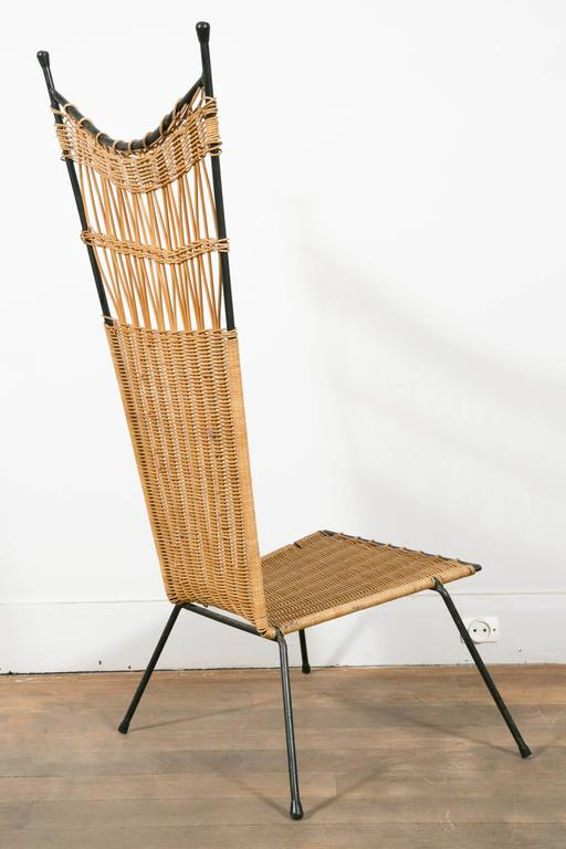 Iron Set of Four Metal and Wicker Slipper Chairs by Raoul Guys, France, 1950