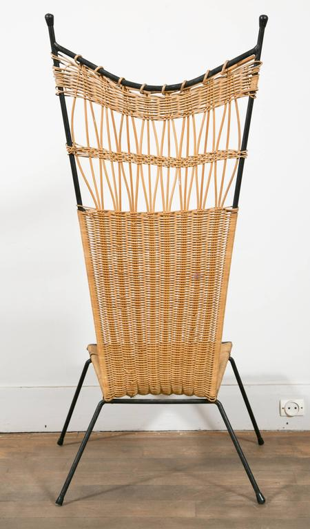 Set of Four Metal and Wicker Slipper Chairs by Raoul Guys, France, 1950 1