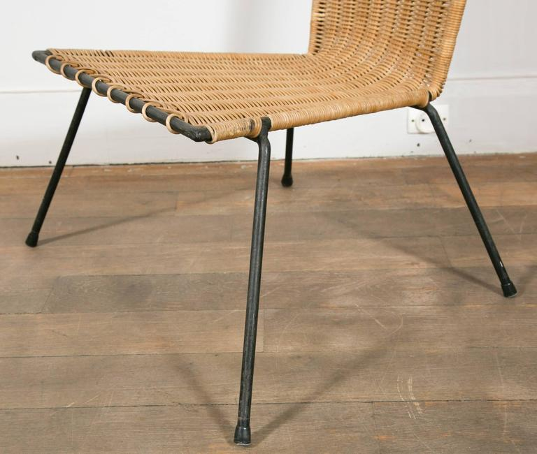 Set of Four Metal and Wicker Slipper Chairs by Raoul Guys, France, 1950 2
