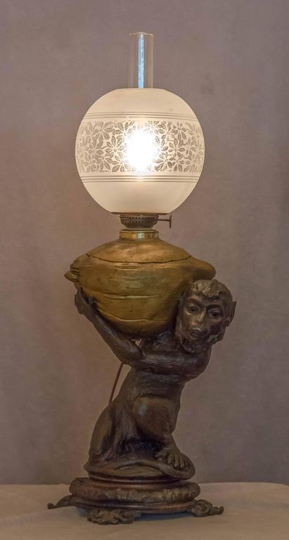 Kerosene Figural Lamp Monkey And Coconut At 1stdibs