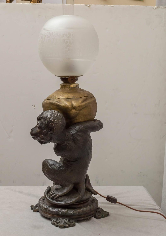 kerosene figural lamp monkey and coconut for sale at 1stdibs. Black Bedroom Furniture Sets. Home Design Ideas