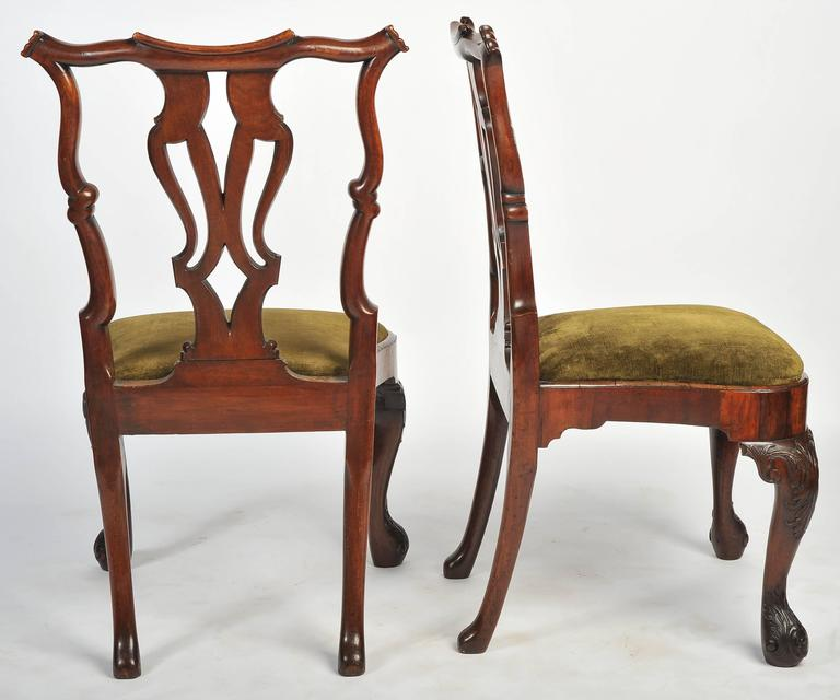 English Set of Six George I Red Walnut Chairs For Sale