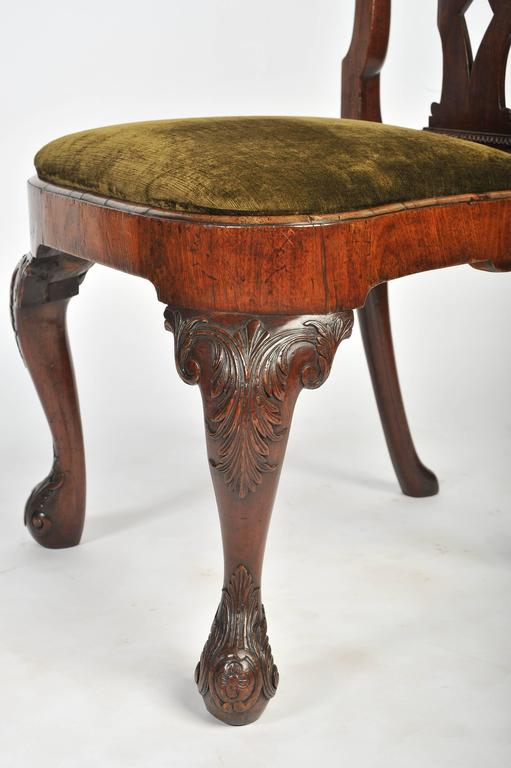 18th Century and Earlier Set of Six George I Red Walnut Chairs For Sale