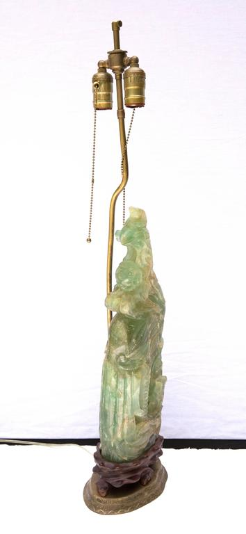 19th Century Chinese Carved Jade Phoenix Table Lamp For Sale 1