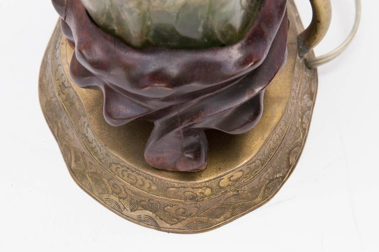 19th Century Chinese Carved Jade Phoenix Table Lamp For Sale 3