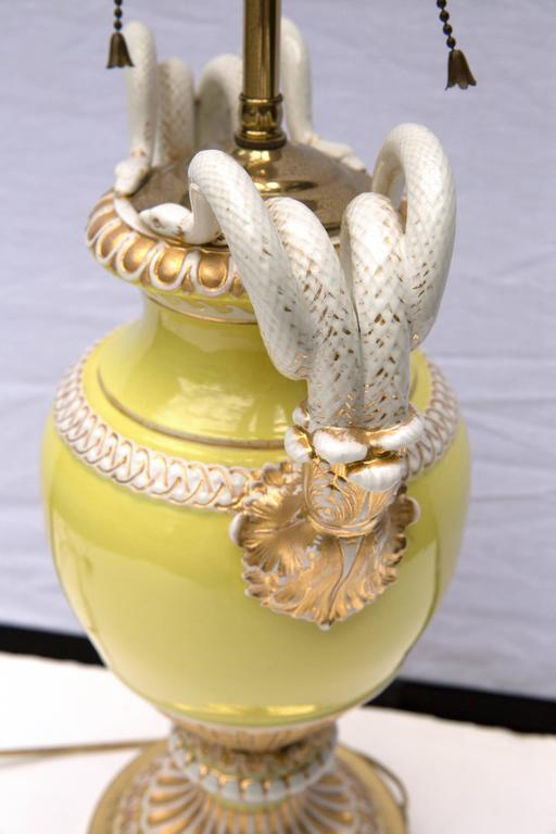Meissen Porcelain Double Snake Handled Vase Table Lamp In Good Condition For Sale In Mt Kisco, NY
