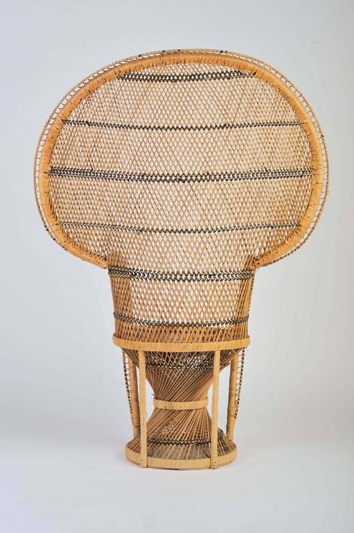 Large Vintage Bohemian 1970s Wicker Emmanuel Peacock Chair