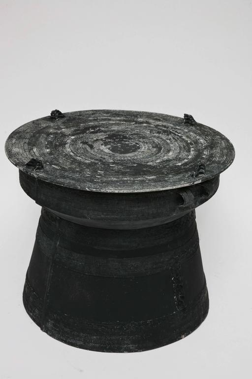 Modeled After Traditional Bronze Rain Drums From Thailand, This Thoroughly  Engaging Black Painted,. Primitive Vintage Cast Aluminum Rain Drum Side  Table ... Images