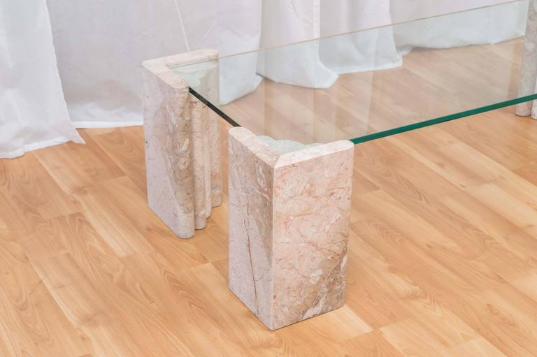 Beau Modern Maitland Smith Four Column Marble And Glass Coffee Table For Sale