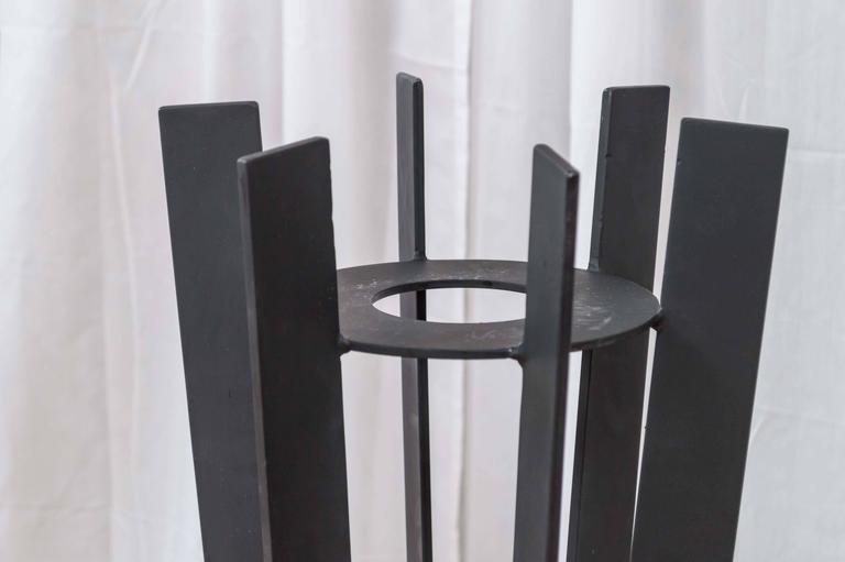 Modern Pair of Sculptural and Tall Wrought Iron Plant Stands For Sale