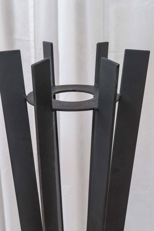 Late 20th Century Pair of Sculptural and Tall Wrought Iron Plant Stands For Sale
