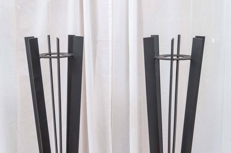 Pair of Sculptural and Tall Wrought Iron Plant Stands For Sale 1