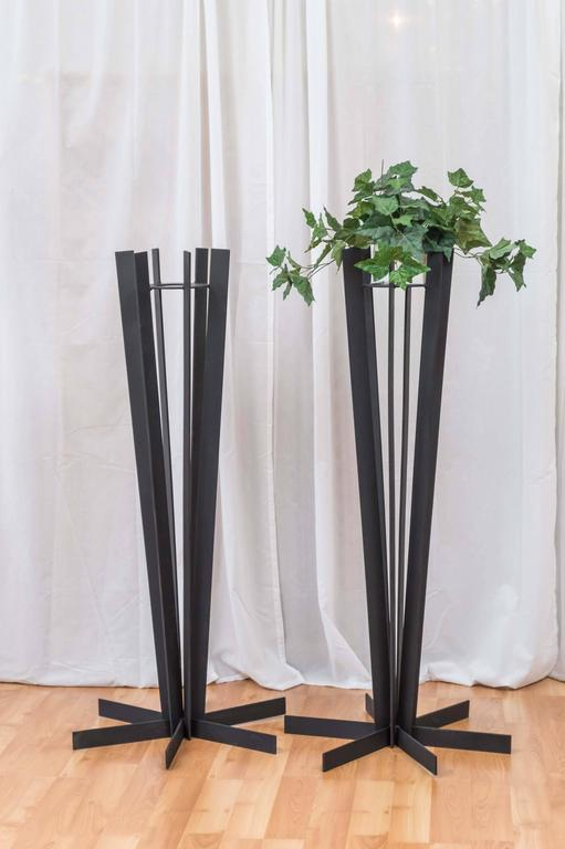 Pair of Sculptural and Tall Wrought Iron Plant Stands For Sale 3