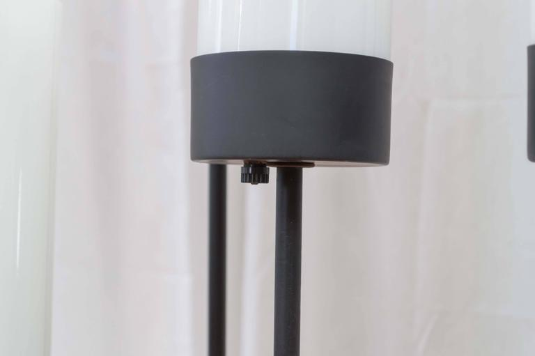 American Black Cast Iron Three-Stem Floor Lamp(s) by Robert Bulmore For Sale