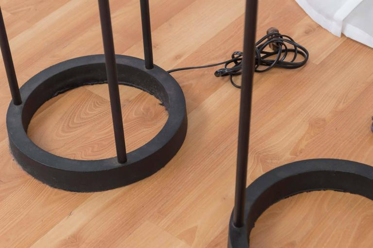 Black Cast Iron Three-Stem Floor Lamp(s) by Robert Bulmore In Good Condition For Sale In San Francisco, CA