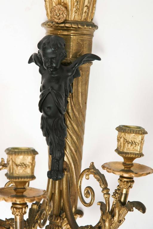 Fine Pair of 19th Century French Bronze Sconces For Sale 1