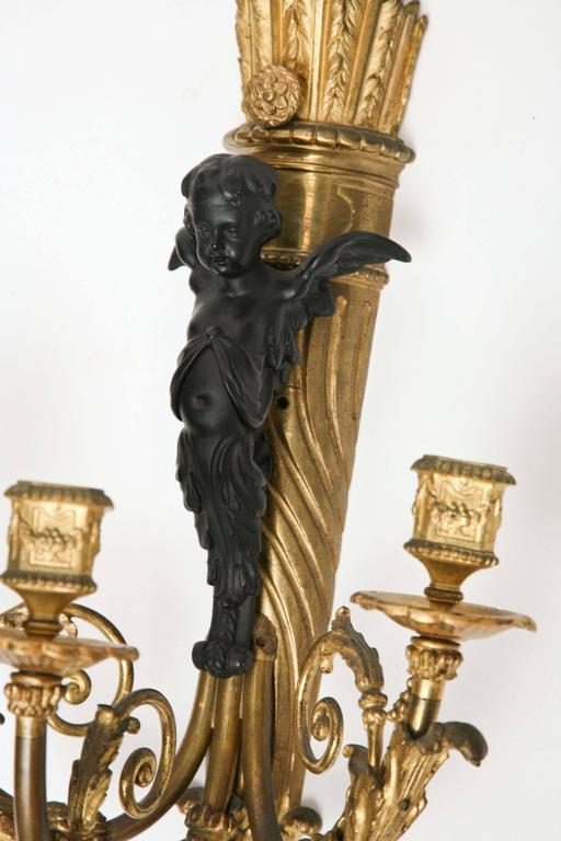 Fine Pair of 19th Century French Bronze Sconces For Sale 5