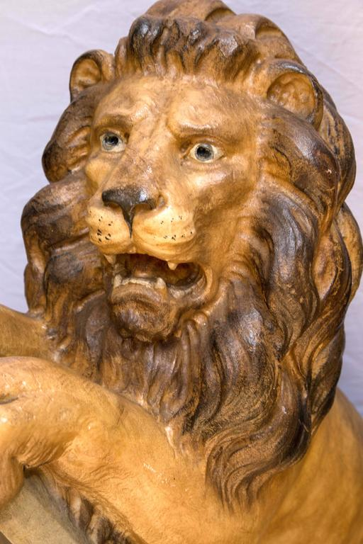 Pair Of Painted Lions In Cast Stone For Sale At 1stdibs