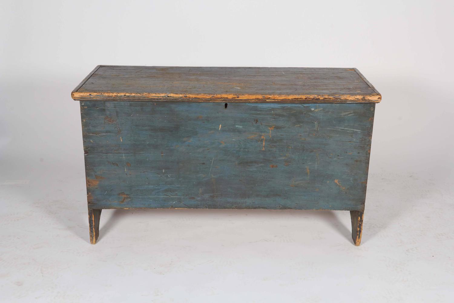 Distressed Blue Painted Wood Trunk For Sale At 1stdibs