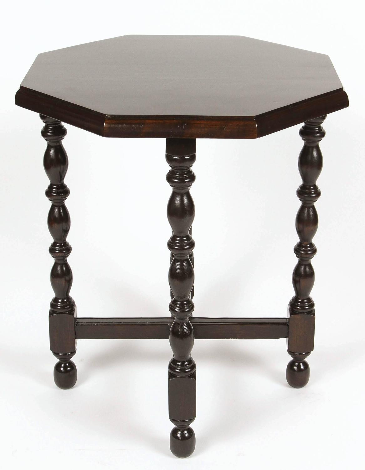 Octagon Side Table ~ Small vintage walnut side table with octagon top for sale