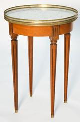 Fruitwood Bouillotte Table with Carrara Marble Top