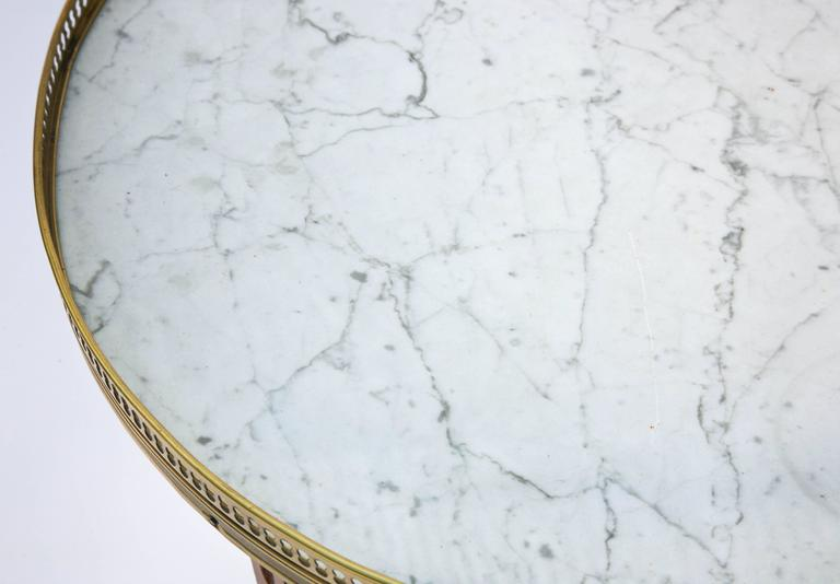 Mid-20th Century Fruitwood Bouillotte Table with Carrara Marble Top For Sale