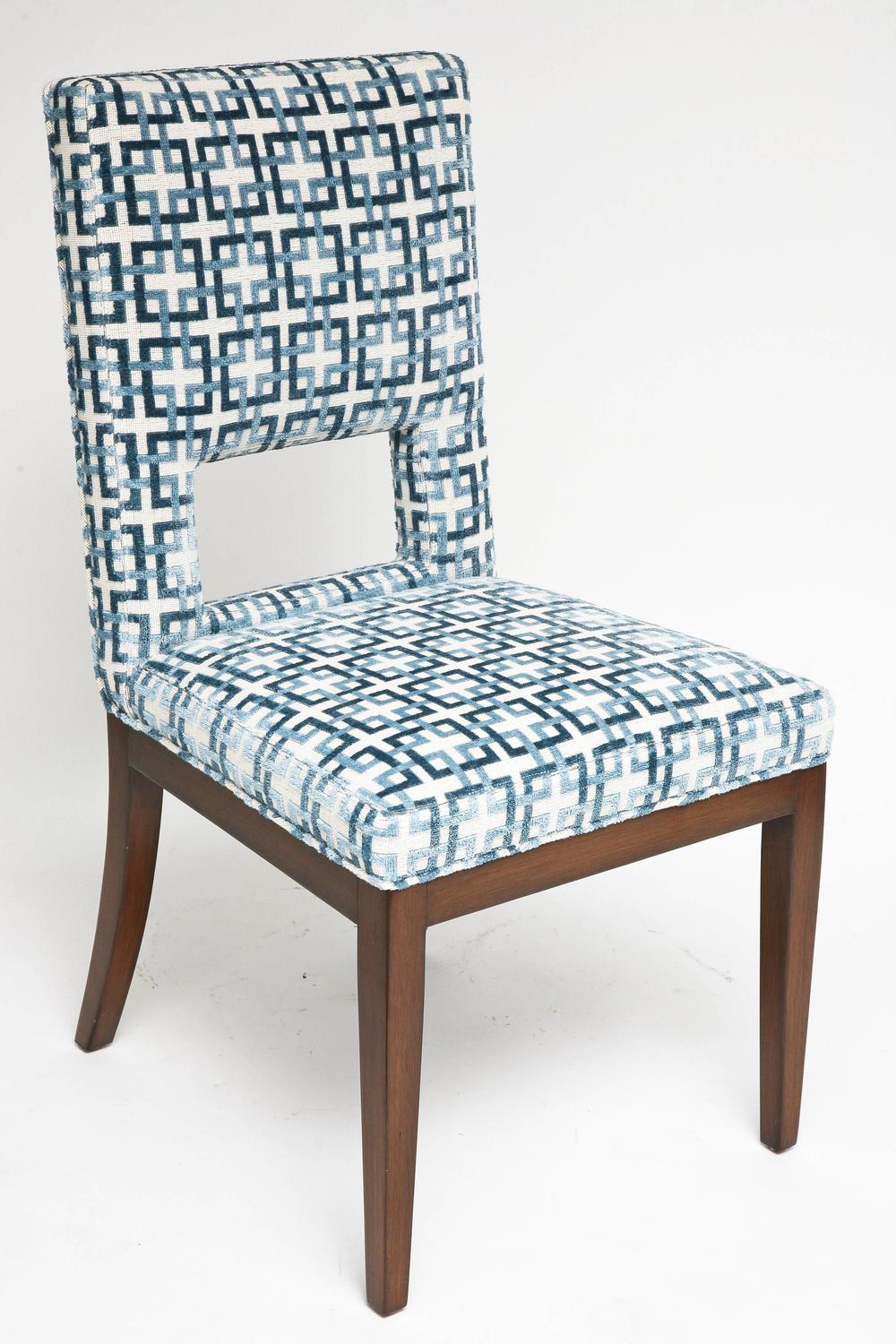 Set of eight dining chairs upholstered in blue and white for Upholstered dining chairs with black legs