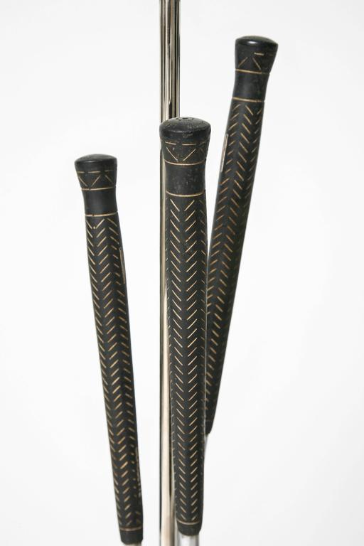 Pair of Golf Club Floor Lamps with Power Bilt, Pouette & Stan Thompson Clubs