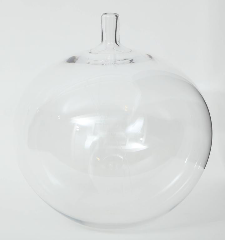 Mid-Century Modern Orrefors Ingeborg Lundin Glass Apple Vase, 1957 For Sale