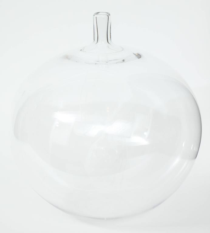 Swedish Orrefors Ingeborg Lundin Glass Apple Vase, 1957 For Sale